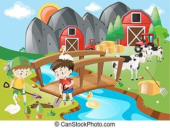 fattoria, ragazzi, buco, vangata
