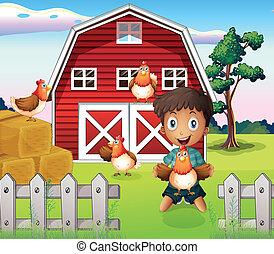 fattoria, ragazzo, suo, animali, gioco