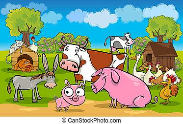 fattoria, rurale, animali, scena, cartone animato