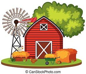 fattoria, rurale, isolato, paesaggio
