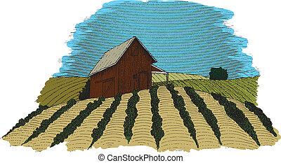 fattoria, scena, colorare