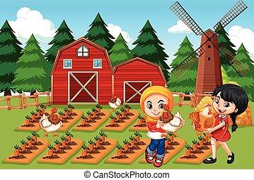 fattoria, scena, coltivatori