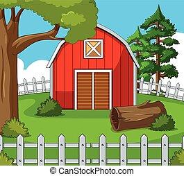 fattoria, scena, granaio rosso