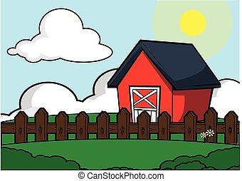 fattoria, scenario, casa