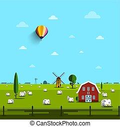 fattoria, scene., vettore, field., mucche, rurale