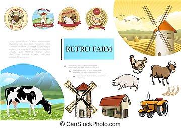fattoria, schizzo, retro, composizione