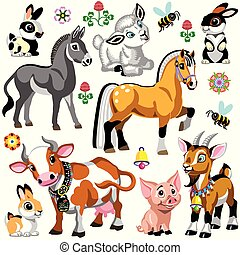 fattoria, set, animali, cartone animato, due