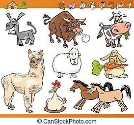 fattoria, set, animali, cartone animato, illustrazione