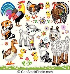 fattoria, set, animali, cartone animato, uno