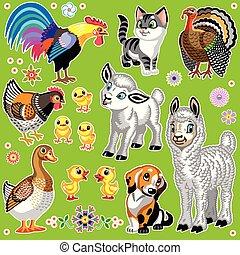 fattoria, set, animali, cartone animato