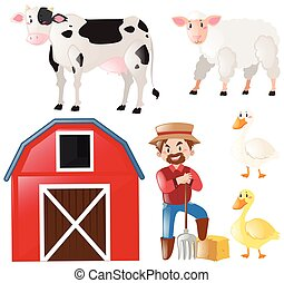 fattoria, set, animali, contadino