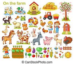 fattoria, set, animals.