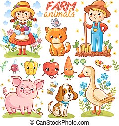 fattoria, set, cartone animato, animals.