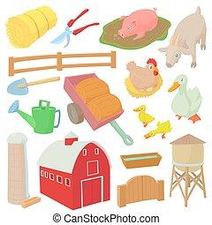 fattoria, set, stile, cartone animato, icone