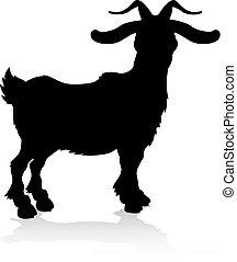 fattoria, silhouette, goat, animale