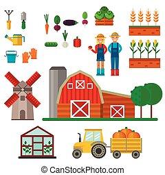 fattoria, simboli, vettore, illustration.