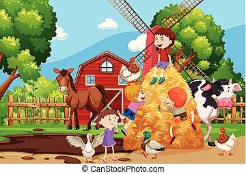 fattoria, tutto, animali, scena