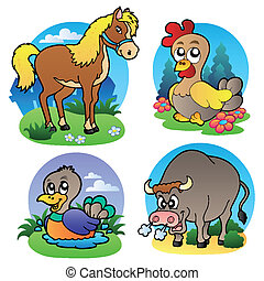 fattoria, vario, 2, animali