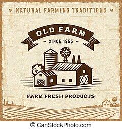 fattoria, vendemmia, vecchio, etichetta