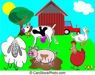 fattoria, vettore, animali, cartone animato