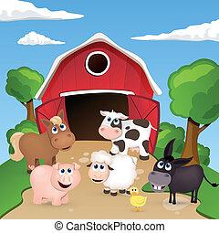fattoria, vettore, animali