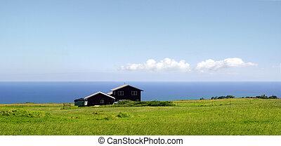 fattoria, vicino, il, oceano