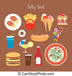 Fatty food icons - Fatty food vector illustration on the...