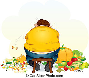Fatty glutton - Fatty vegan man eating fruits and vegetable...
