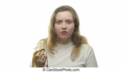 Fatty woman eating banana, fourth video from the series