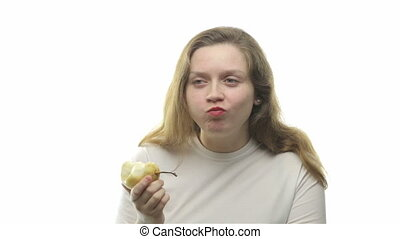 Fatty woman eating pear, fourth video from the series