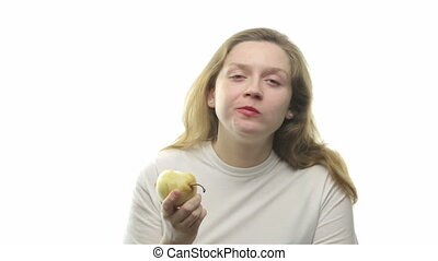 Fatty woman eating pear, second video from the series