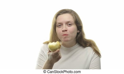 Fatty woman eating pear, third video from the series