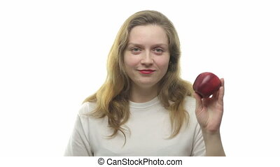 Fatty woman showing apple, video on white background