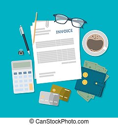 fatura, contabilidade, illustration.