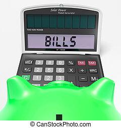 faturas, calculadora, pagável, contabilidade, contas, mostra