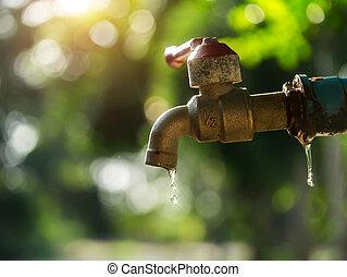 faucet., ελαττωματικός , νερό , sunlight., wastage, αιτία