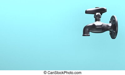 Side View Of Faucet And Water, Blue Background. 3D render Animation.