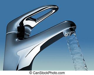 Faucet - Bathroom faucet flowing water - 3d render...