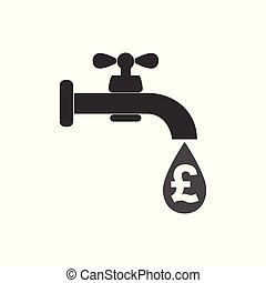 Faucet icon, money sign - pound. water tap sign. Vector illustration. Flat design.