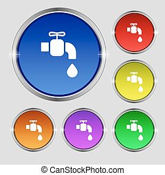 faucet icon sign. Round symbol on bright colourful buttons....