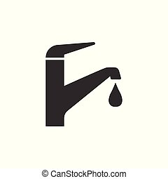 Faucet icon, water tap sign. Vector illustration. Flat design.