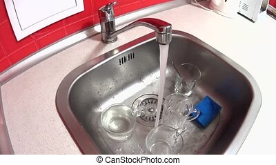 Faucet on the kitchen