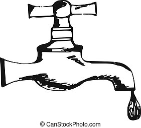 faucet - hand made illustration of a series of items, faucet