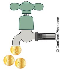 Faucet with falling coin on white background is insulated