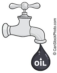 Faucet With Petroleum Or Oil Drop Design With Text