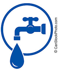 faucet with water drop - blue sign with faucet and water...