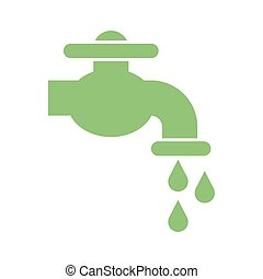 faucet with water drops icon, silhouette style