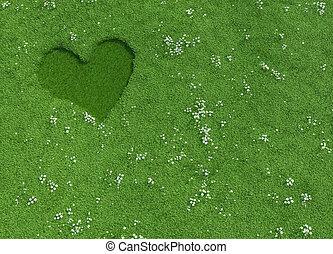 fauché, coeur, herbe, fait, forme, fleurs