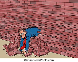 fauché, par, mur, homme affaires