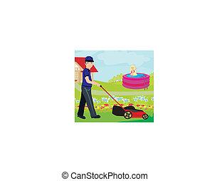 fauchage, illustration, homme, vecteur, pelouse